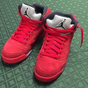 Jordan Retro 5 Red suede size 5.5y